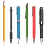 Penas e lápis Imagem de Stock Royalty Free