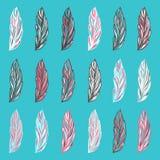 Penas fantásticas desenhados à mão coloridas Fotografia de Stock Royalty Free