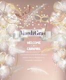 Penas, grânulos, fita e máscaras de queda do carnaval Fundo de Mardi Gras ilustração do vetor