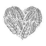 Penas indianas étnicas, forma do coração do amor Rosa vermelha Ilustração do vetor, elementos para o projeto Foto de Stock
