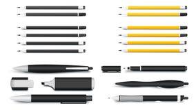 Penas, lápis, marcadores e Textliner A maioria de materiais de escrita populares para modelos da identidade corporativa Ilustraçã Foto de Stock Royalty Free