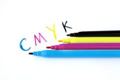 Penas macias da ponta de Cmyk Fotos de Stock