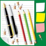 Penas-pensil Foto de Stock Royalty Free