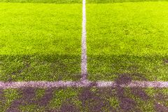 Penaty area, white lines of the artificial practice football field. Penalty area, white lines of the artificial practice football field in urban, daytime Stock Images