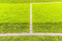 Penaty area, white lines of the artificial practice football field. Penalty area, white lines of the artificial practice football field in urban, daytime Stock Photos