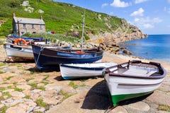 Penberth Cornwall England. Small fishing boats moored at Penberth Cornwall England UK Stock Image