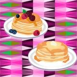 Pencake met honing Royalty-vrije Stock Afbeeldingen