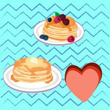Pencakes with honey Stock Image