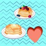 Pencakes mit Honig Stockbild