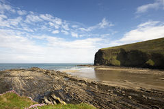 Pencarrow Point. Cliffs under cloudscape, Crackington Haven, Cornwall, England Royalty Free Stock Image