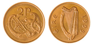 2 pence 1995 coin isolated on white background, Ireland Stock Images