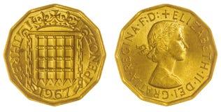 3 pence van 1967 het muntstuk dat op witte achtergrond, Groot-Brittannië wordt geïsoleerd Royalty-vrije Stock Fotografie