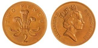2 pence van 1993 het muntstuk dat op witte achtergrond, Groot-Brittannië wordt geïsoleerd Stock Foto's