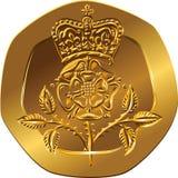 Pences för guld- mynt tjugo för pengar för vektor brittiska med den krönade roen royaltyfri illustrationer