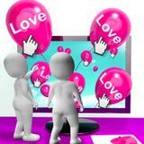 Penchant d'Internet d'exposition de ballons d'amour et salutations affectueuses illustration stock