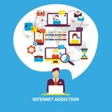 Penchant d'Internet Le groupe de personnes utilisent le smartphone, carnet et illustration stock