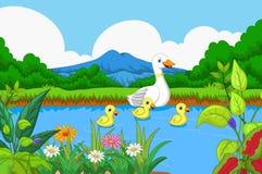 Penchez la natation de bande dessinée dans le lac avec le fond de paysage Photographie stock libre de droits