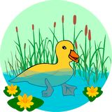 Penchez-vous dans le lac, nageant dans l'eau illustration de vecteur