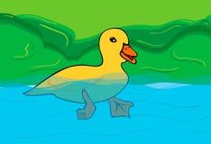 Penchez-vous dans le lac, nageant dans l'eau illustration stock