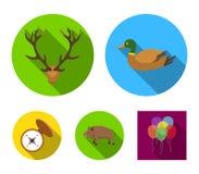 Penchez-vous, des andouillers de cerfs communs, boussole, sanglier En chassant les icônes réglées de collection dans le style pla illustration libre de droits