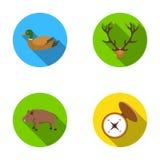 Penchez-vous, des andouillers de cerfs communs, boussole, sanglier En chassant les icônes réglées de collection dans le style pla illustration stock