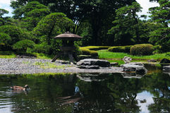 Penchez-vous en livre à un jardin japonais Photo libre de droits