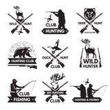 Penchez-vous, soutenez, des cerfs communs et d'autres animaux pour la chasse Ensemble de labels monochrome avec l'endroit pour vo illustration libre de droits