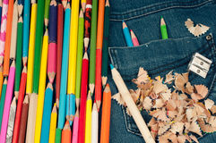 Penci in jeans pocketl- color image Stock Images