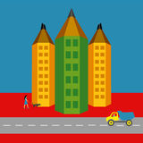 Pencil – city version of active city life Stock Photos