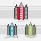 Pencil – city version of black and white buildings stock photos