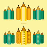 Pencil – city version of buildings stock image