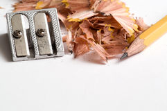 Pencil. With sawdust on white Royalty Free Stock Photos