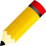 Pencil. Illustration of wooden yellow pencil with a red top, can be used for children books and magazines Stock Image