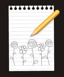 Pencil. Flowers are drawn On white sheet of paper simple pencil. The Vector illustration Royalty Free Stock Photo