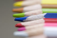 Pencil. Close up of blue pencil, narrow focus Royalty Free Stock Photo