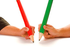 Pencil. Signing that all important contract with big pencil stock image