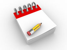 Pencil. A pencil and  a notebook.  3d render illustration Stock Photography