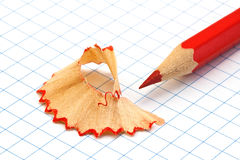 Pencil. Red pencil shavings on a piece of paper Royalty Free Stock Image