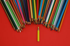Pencil. Some color pencil on the red background stock image