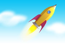 Pencil. Full throttle. rocket pencil illustration Royalty Free Stock Image