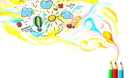 Pencil. Abstract air art backdrop background bright Stock Images