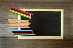 Pencil  against a blackboard Stock Photography