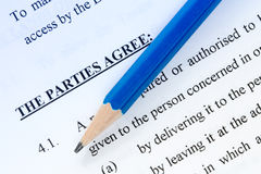 Pencil and agreement Stock Photos