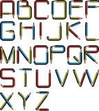 Pencil alphabet. Font text a-z vector illustration