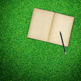 Pencil And Old Book Open On Green Grass Royalty Free Stock Photography