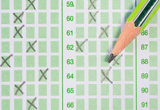 Pencil on answer sheet Royalty Free Stock Photo