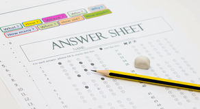 Pencil on answer sheet Royalty Free Stock Image