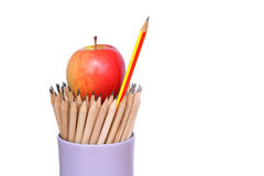 Pencil  and apple art  on    background concept idea. Royalty Free Stock Photography