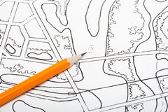 Pencil on architectural drawings. Plan city river concept royalty free stock photos