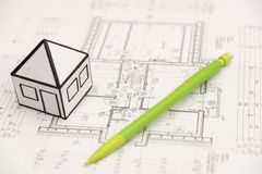 Pencil on architecture design drawings Royalty Free Stock Image